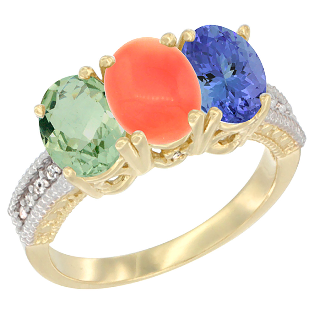 10K Yellow Gold Diamond Natural Green Amethyst, Coral & Tanzanite Ring 3-Stone Oval 7x5 mm, sizes 5 - 10