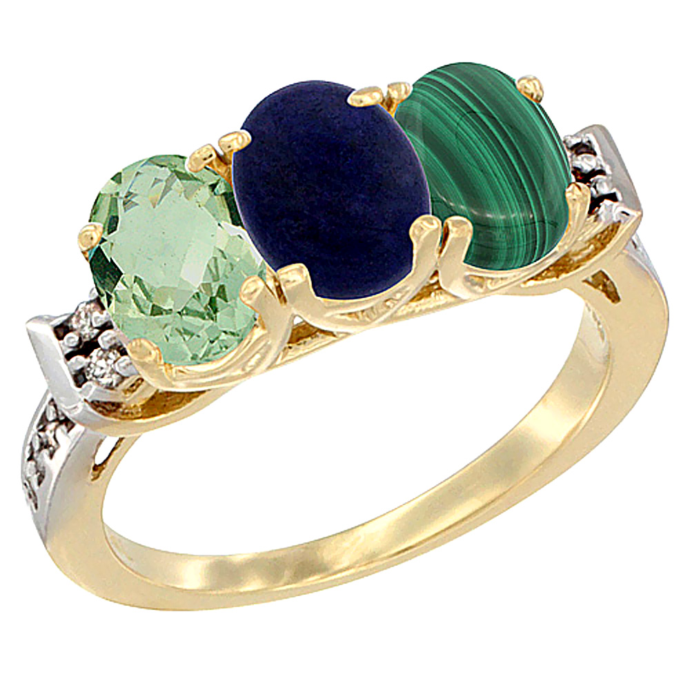 14K Yellow Gold Natural Green Amethyst, Lapis & Malachite Ring 3-Stone 7x5 mm Oval Diamond Accent, sizes 5 - 10