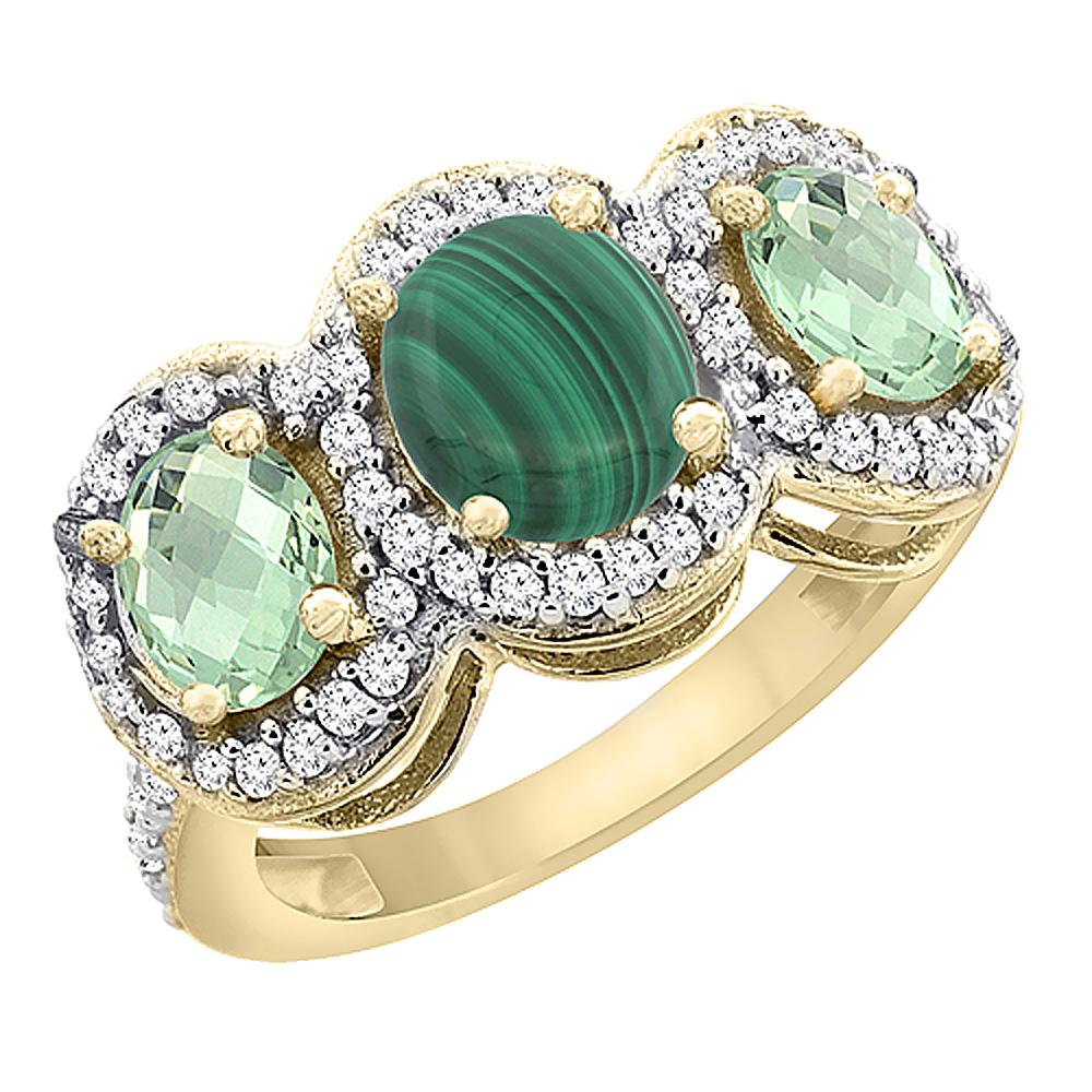 10K Yellow Gold Natural Malachite & Green Amethyst 3-Stone Ring Oval Diamond Accent, sizes 5 - 10