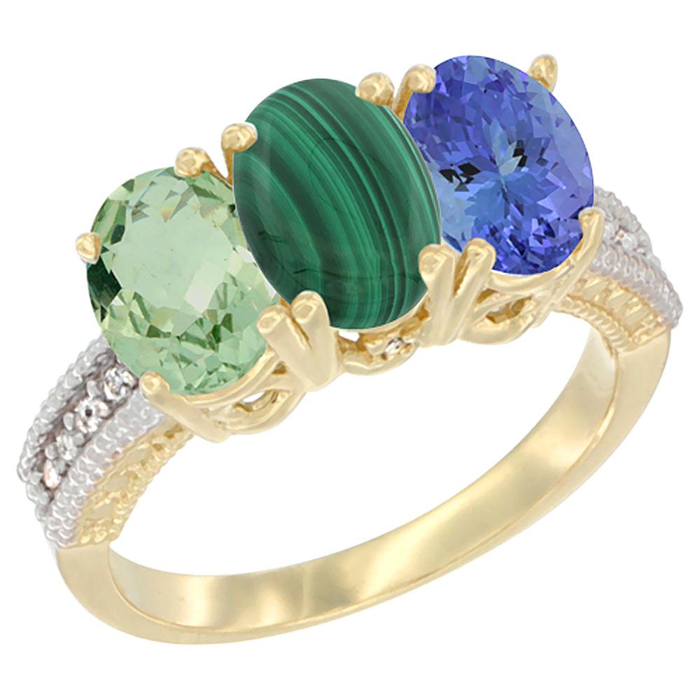 10K Yellow Gold Diamond Natural Green Amethyst, Malachite & Tanzanite Ring 3-Stone Oval 7x5 mm, sizes 5 - 10