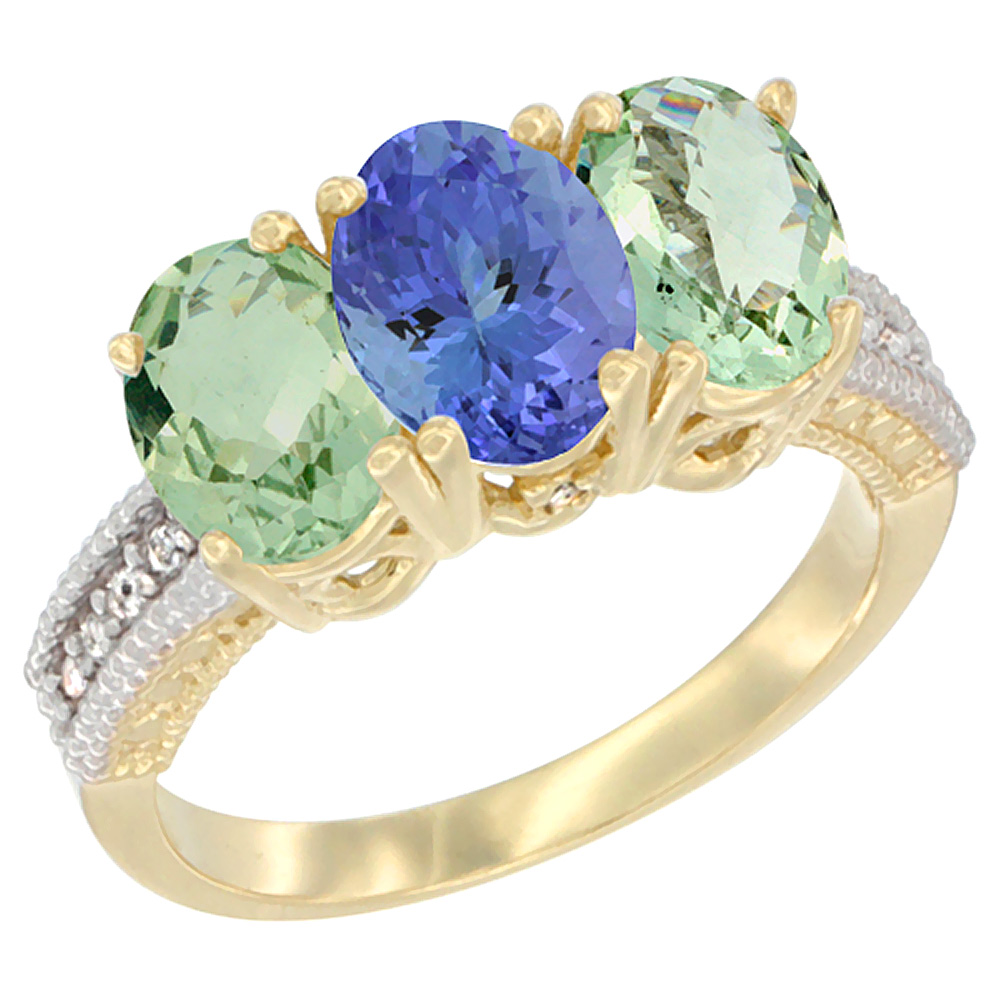 14K Yellow Gold Natural Tanzanite & Green Amethyst Sides Ring 3-Stone 7x5 mm Oval Diamond Accent, sizes 5 - 10