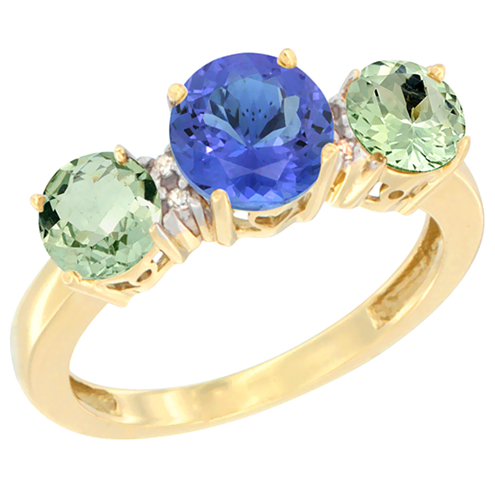 14K Yellow Gold Round 3-Stone Natural Tanzanite Ring & Green Amethyst Sides Diamond Accent, sizes 5 - 10