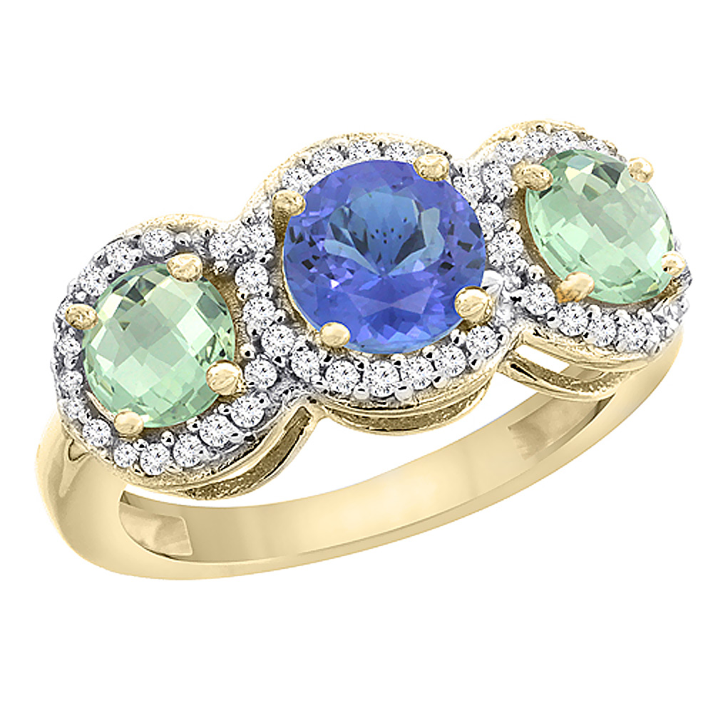 14K Yellow Gold Natural Tanzanite & Green Amethyst Sides Round 3-stone Ring Diamond Accents, sizes 5 - 10