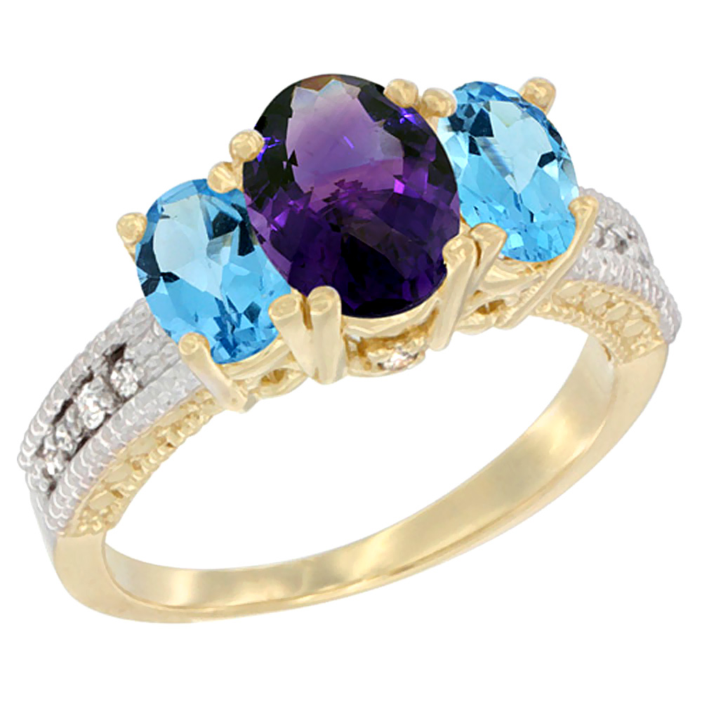 14K Yellow Gold Diamond Natural Amethyst Ring Oval 3-stone with Swiss Blue Topaz, sizes 5 - 10