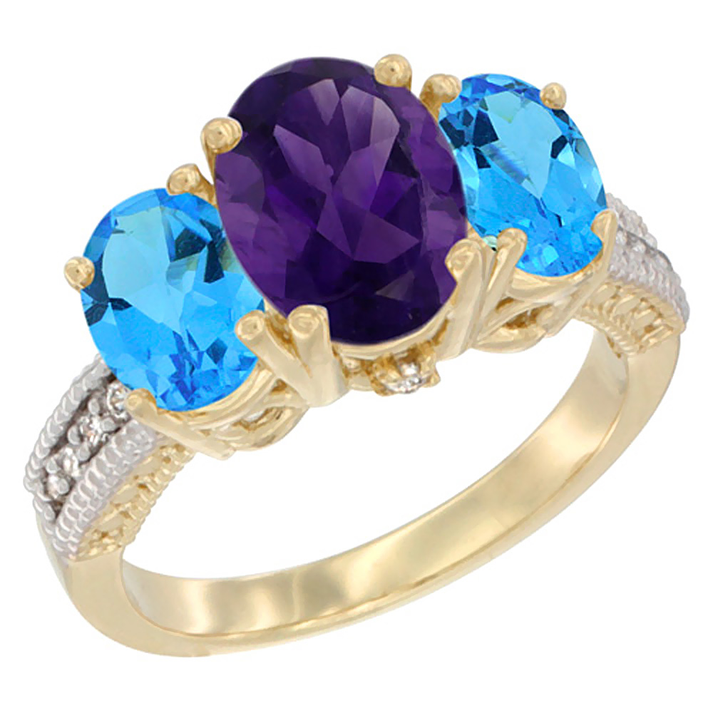10K Yellow Gold Diamond Natural Amethyst Ring 3-Stone Oval 8x6mm with Swiss Blue Topaz, sizes5-10