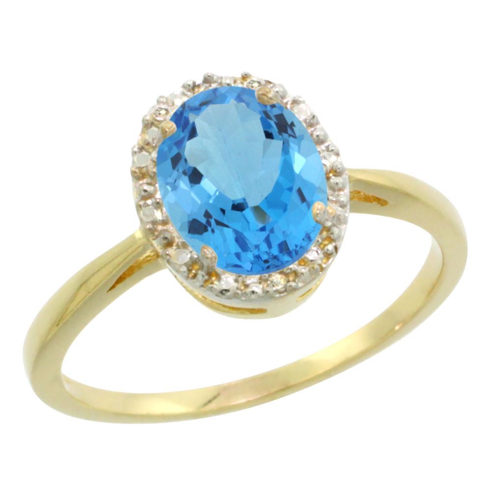 10K Yellow Gold Genuine Blue Topaz Diamond Halo Ring Oval 8X6mm sizes 5-10