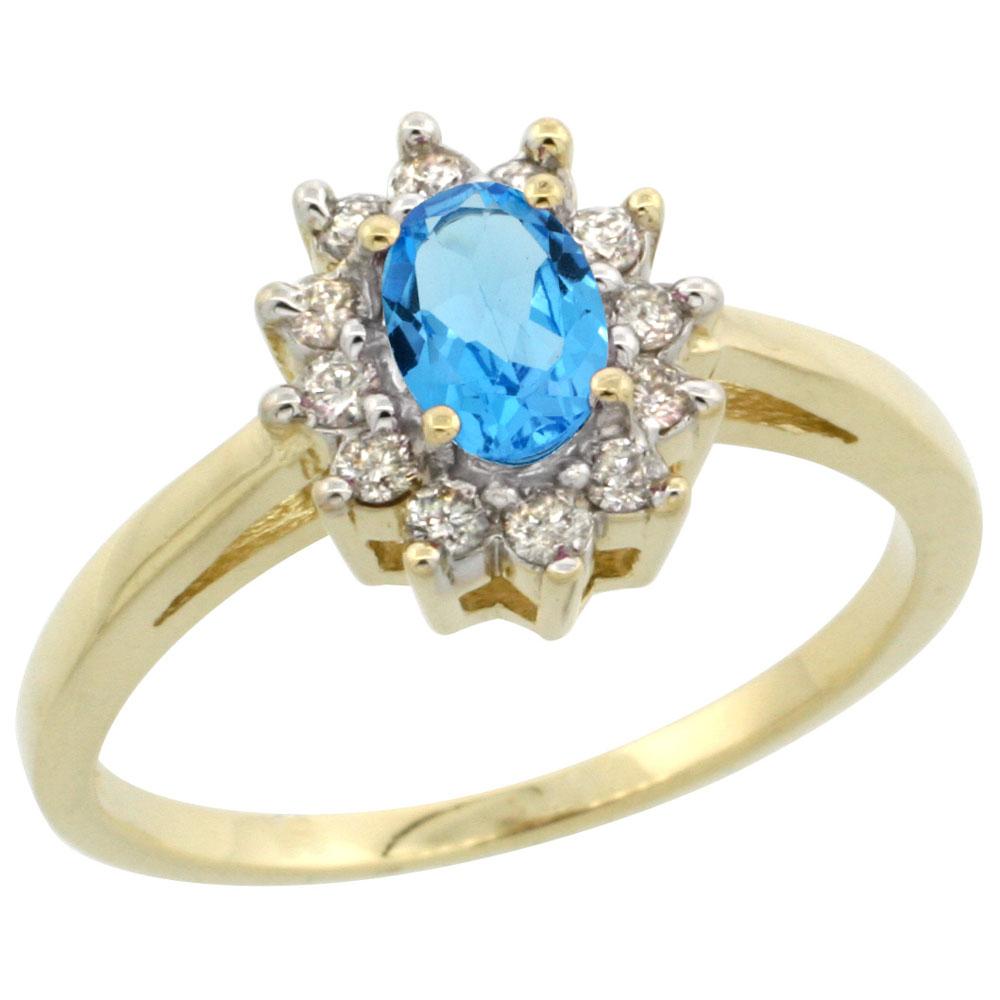 10K Yellow Gold Genuine Blue Topaz Flower Diamond Halo Ring Oval 6x4 mm sizes 5-10