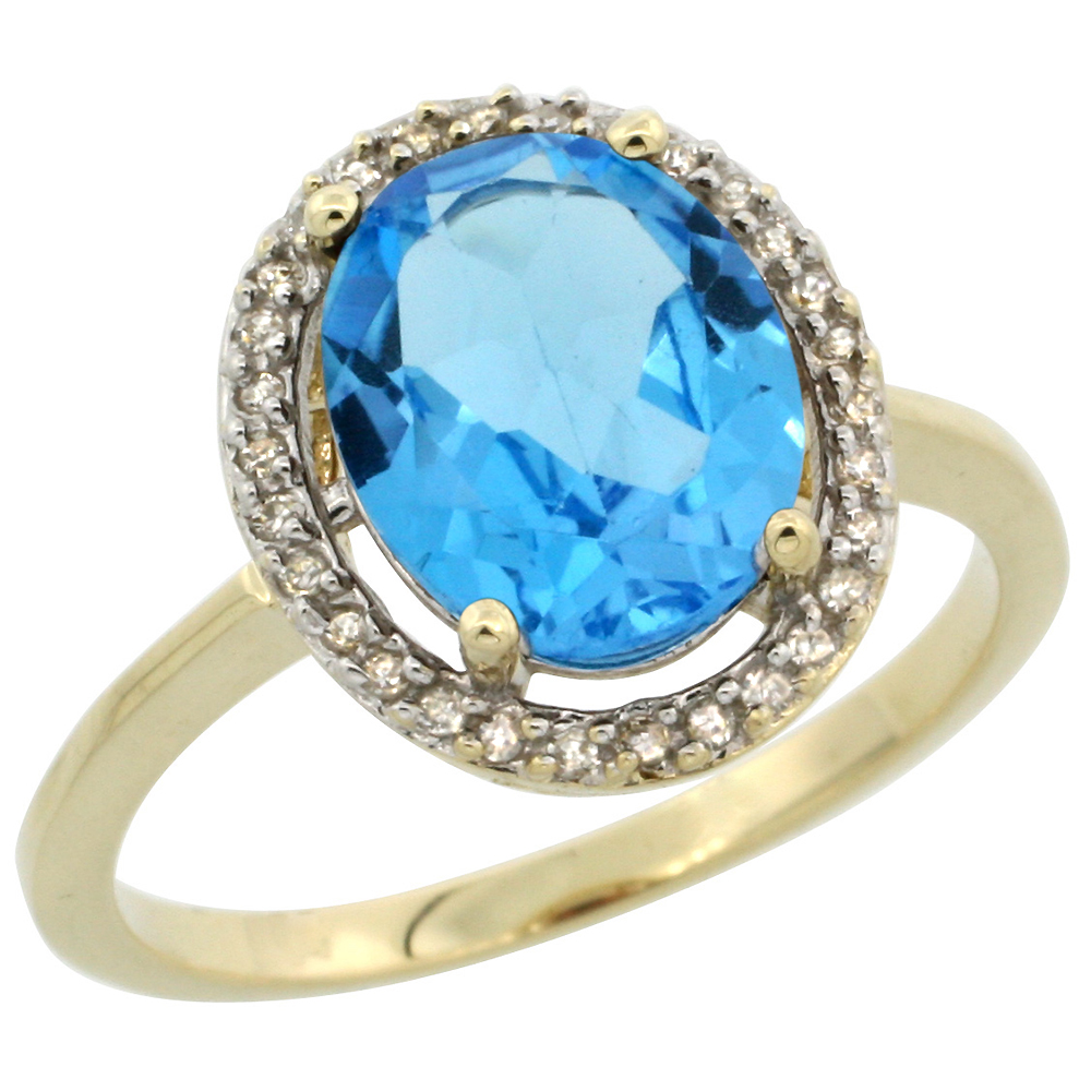 10K Yellow Gold Diamond Halo Genuine Blue Topaz Engagement Ring Oval 10x8 mm sizes 5-10