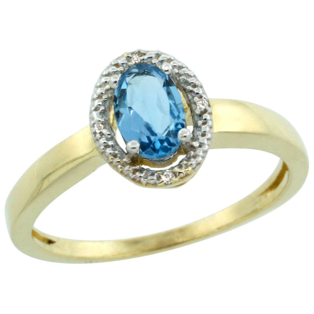 10K Yellow Gold Diamond Halo Genuine Blue Topaz Engagement Ring Oval 6X4 mm sizes 5-10