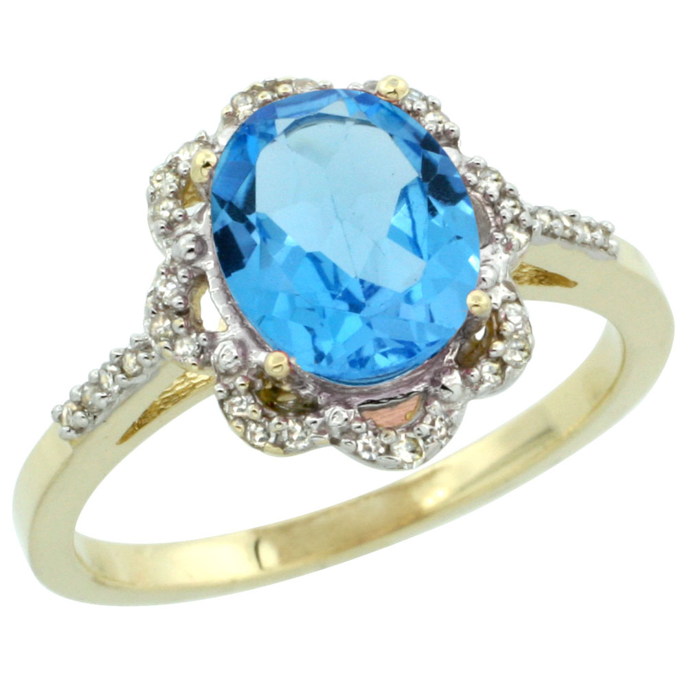 10K Yellow Gold Diamond Halo Genuine Blue Topaz Engagement Ring Oval 9x7mm sizes 5-10