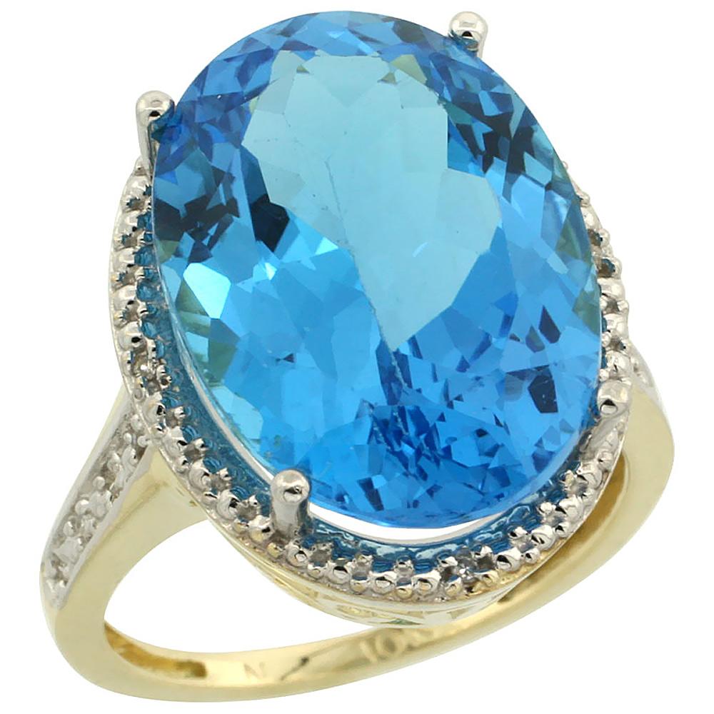 10K Yellow Gold Diamond Genuine Blue Topaz Ring Halo Oval 18x13mm sizes 5-10