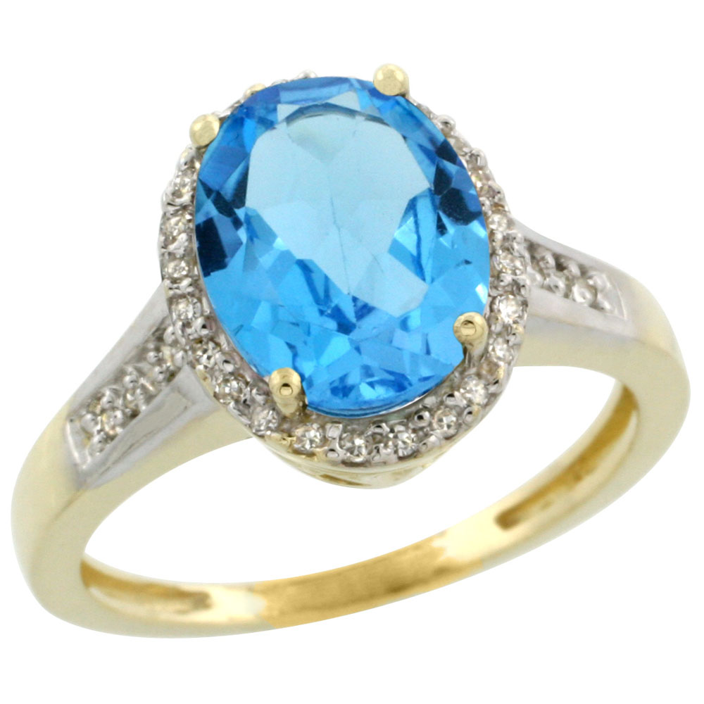 10K Yellow Gold Diamond Genuine Blue Topaz Engagement Ring Halo Oval 10x8mm sizes 5-10