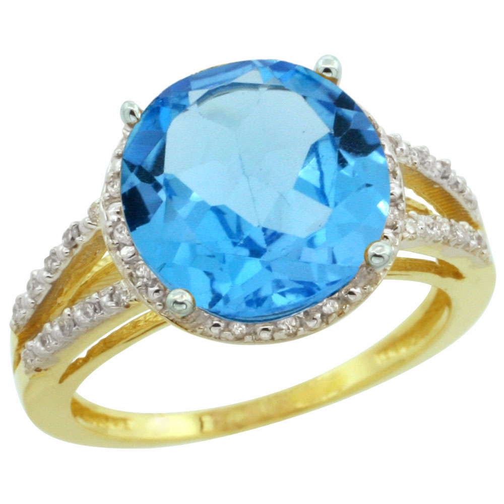 10K Yellow Gold Diamond Genuine Blue Topaz Ring Round 11mm sizes 5-10