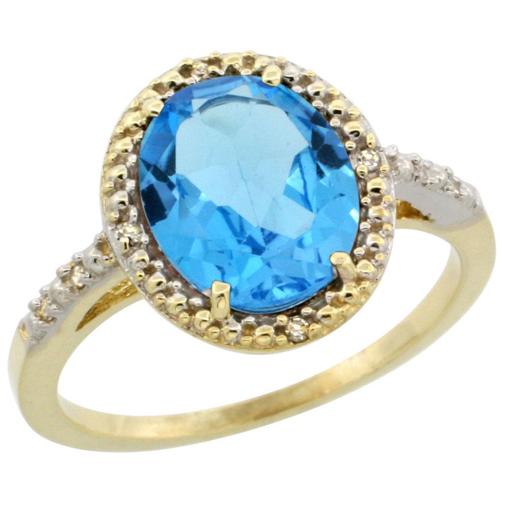 10K Yellow Gold Diamond Genuine Blue Topaz Engagement Ring Halo Oval 10x8mm sizes 5-10