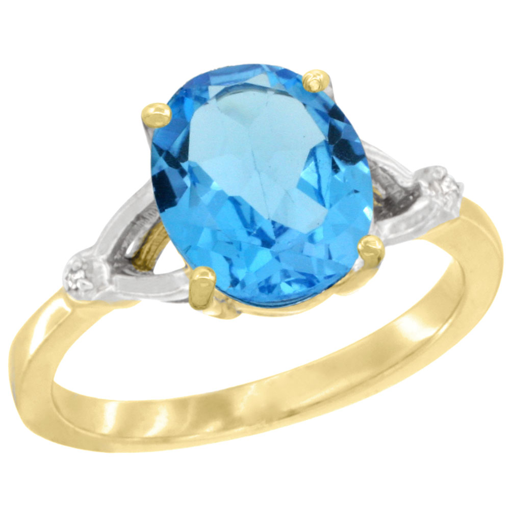 10K Yellow Gold Diamond Genuine Blue Topaz Engagement Ring Oval 10x8mm sizes 5-10
