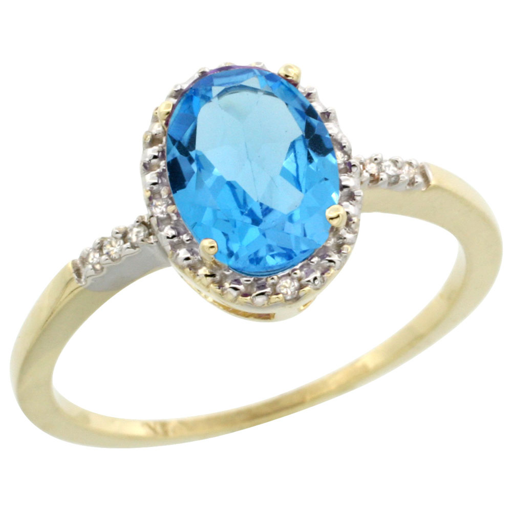 10K Yellow Gold Diamond Genuine Blue Topaz Ring Halo Oval 8x6mm sizes 5-10
