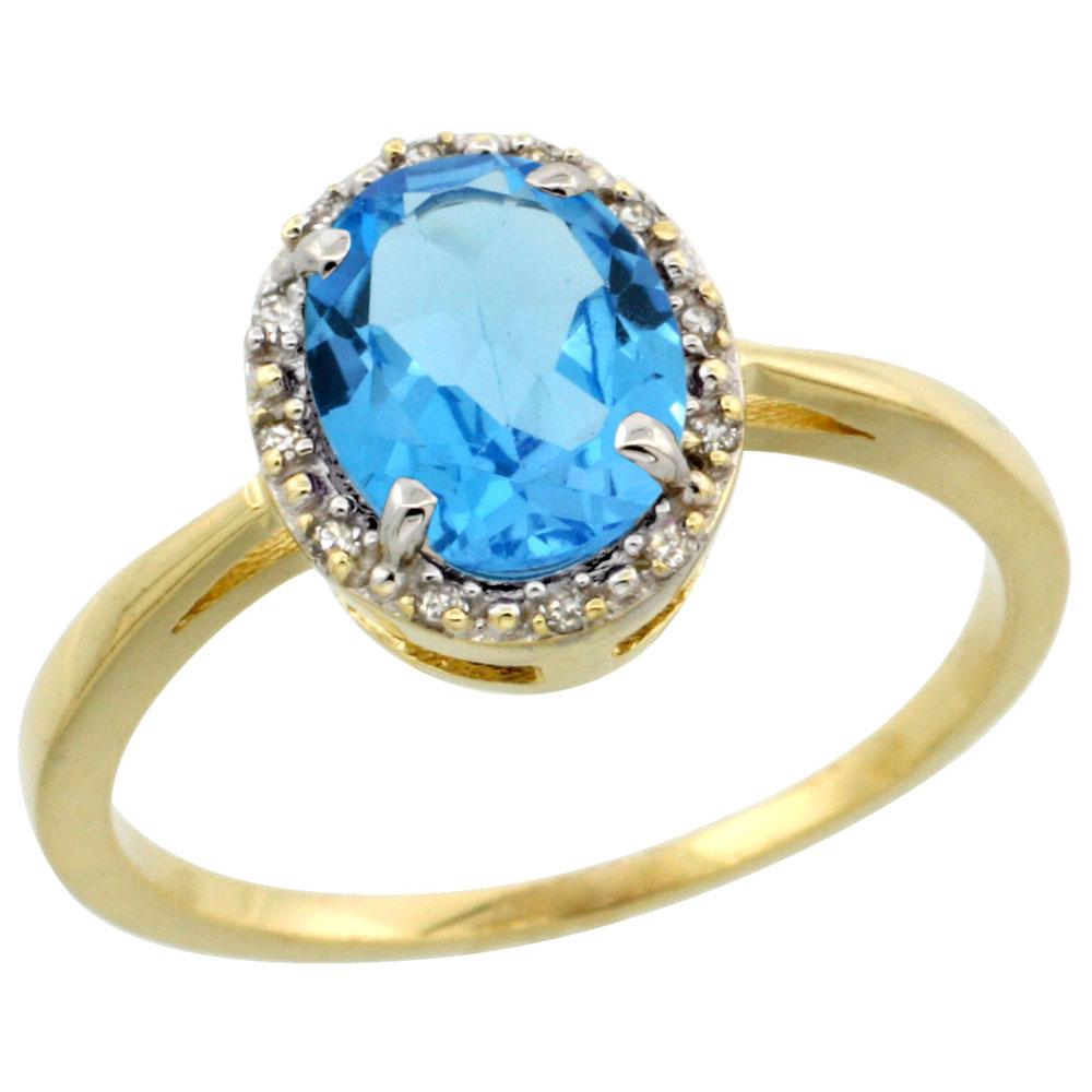 10k Yellow Gold Genuine Blue Topaz Ring Oval 8x6 mm Diamond Halo sizes 5-10