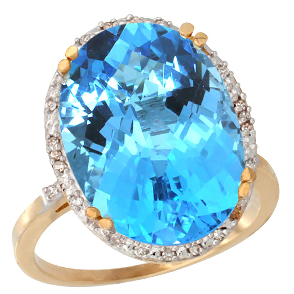 10k Yellow Gold Genuine Blue Topaz Ring Large Oval 18x13mm Diamond Halo sizes 5-10