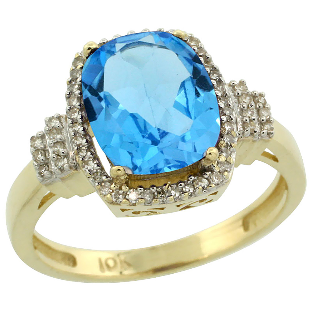 10k Yellow Gold Genuine Blue Topaz Ring Cushion-cut 9x7mm Diamond Halo sizes 5-10