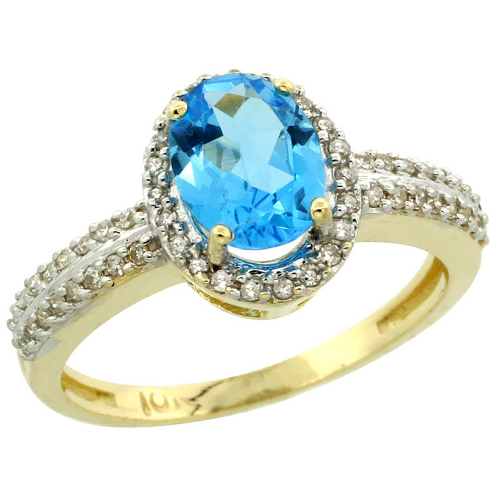 14K Yellow Gold Natural Swiss Blue Topaz Ring Oval 8x6mm Diamond Halo, sizes 5-10