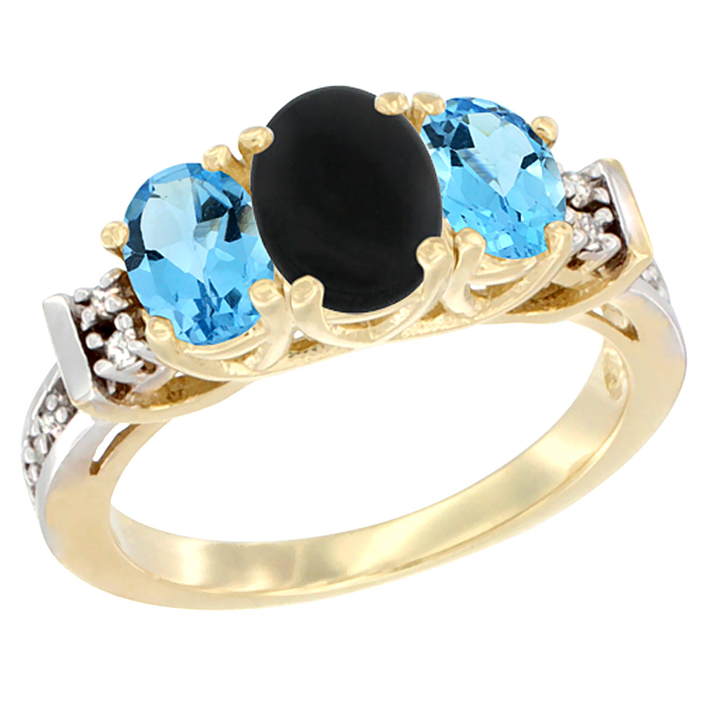 14K Yellow Gold Natural Black Onyx & Swiss Blue Topaz Ring 3-Stone Oval Diamond Accent