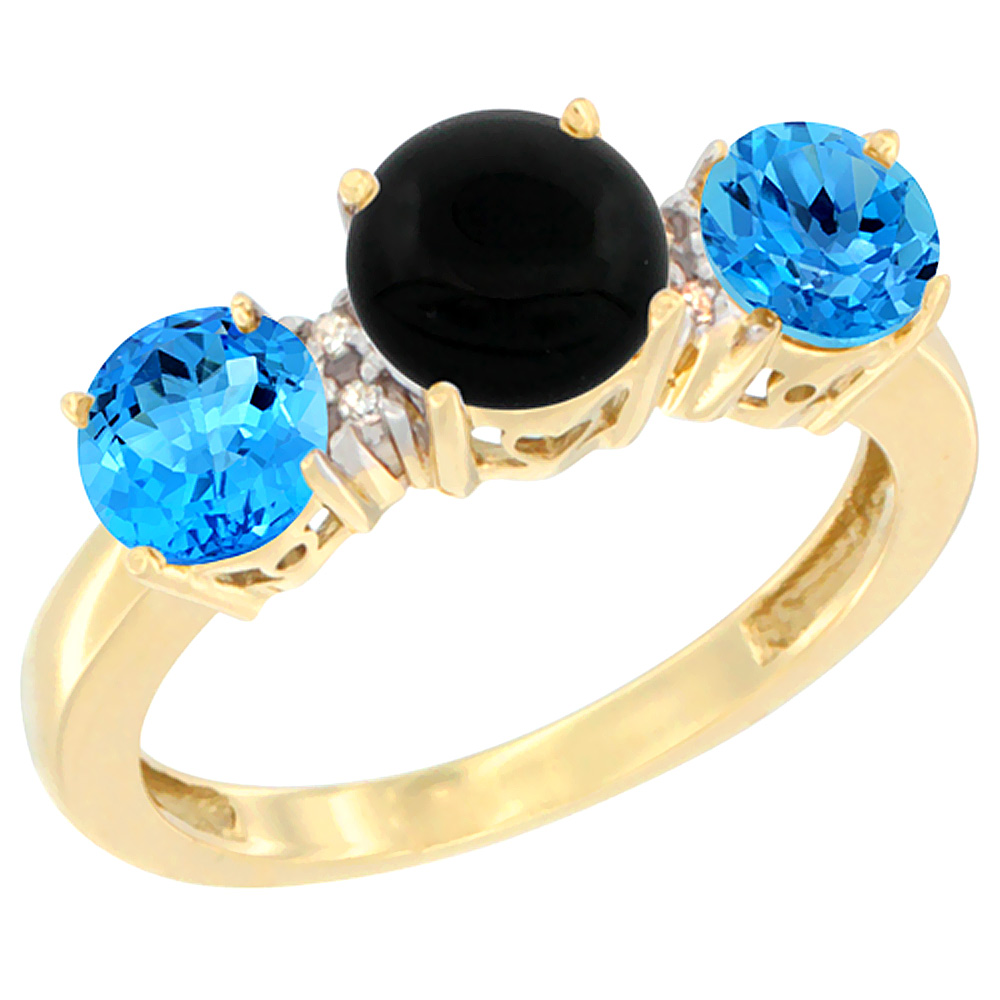 14K Yellow Gold Round 3-Stone Natural Black Onyx Ring & Swiss Blue Topaz Sides Diamond Accent, sizes 5 - 10