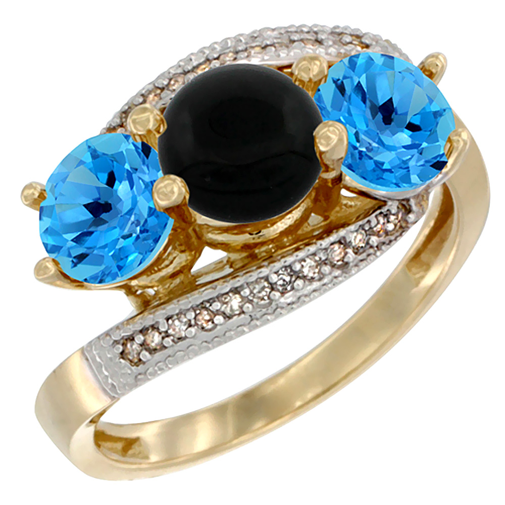 14K Yellow Gold Natural Black Onyx & Swiss Blue Topaz Sides 3 stone Ring Round 6mm Diamond Accent, sizes 5 - 10