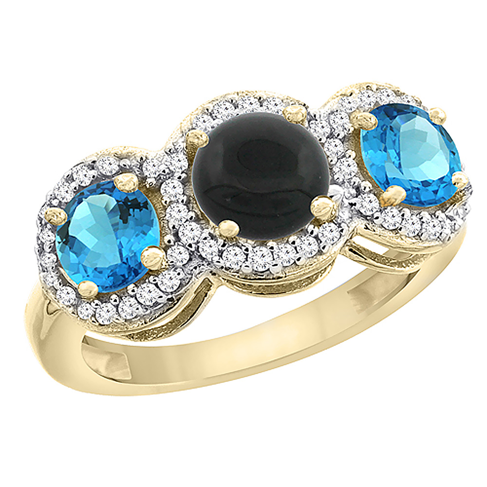14K Yellow Gold Natural Black Onyx & Swiss Blue Topaz Sides Round 3-stone Ring Diamond Accents, sizes 5 - 10