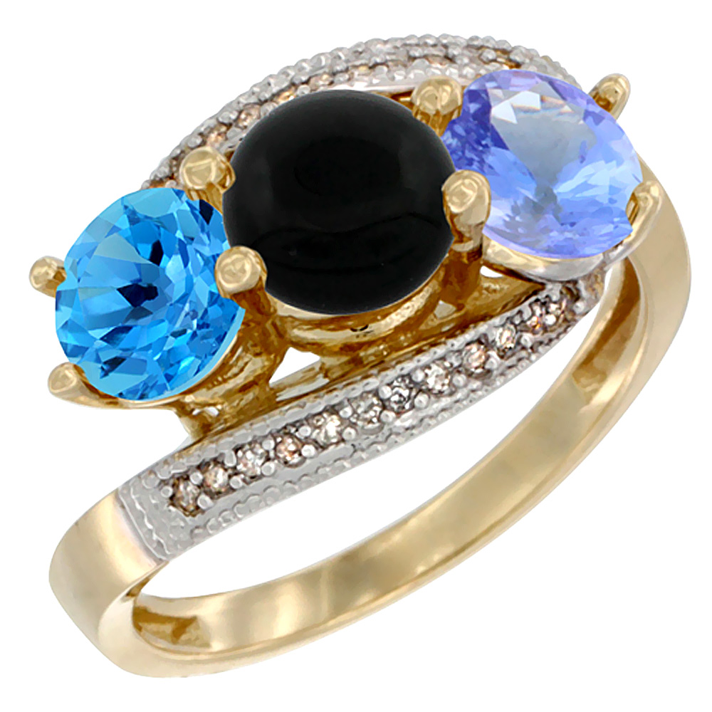 14K Yellow Gold Natural Swiss Blue Topaz, Black Onyx & Tanzanite 3 stone Ring Round 6mm Diamond Accent, sizes 5 - 10