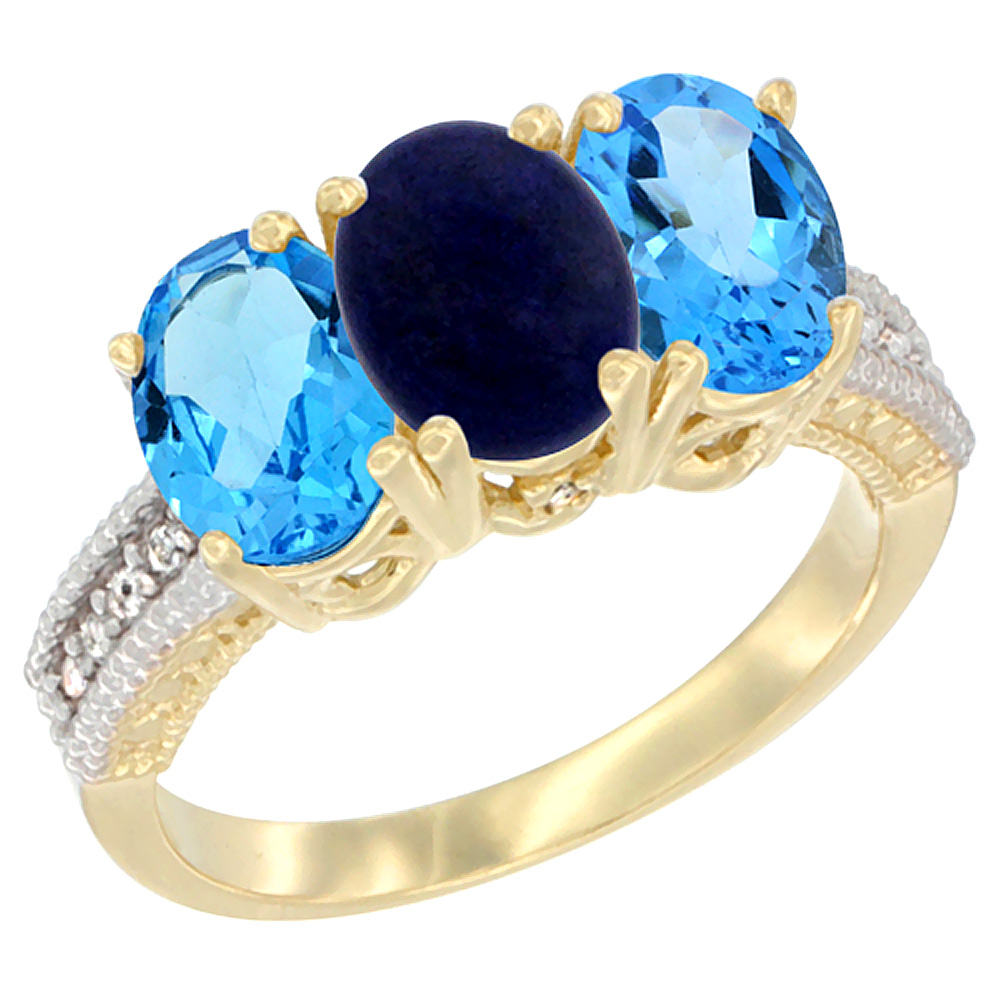 14K Yellow Gold Natural Lapis & Swiss Blue Topaz Sides Ring 3-Stone 7x5 mm Oval Diamond Accent, sizes 5 - 10