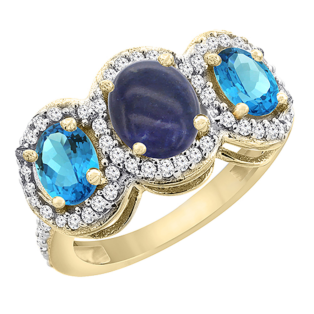 14K Yellow Gold Natural Lapis & Swiss Blue Topaz 3-Stone Ring Oval Diamond Accent, sizes 5 - 10