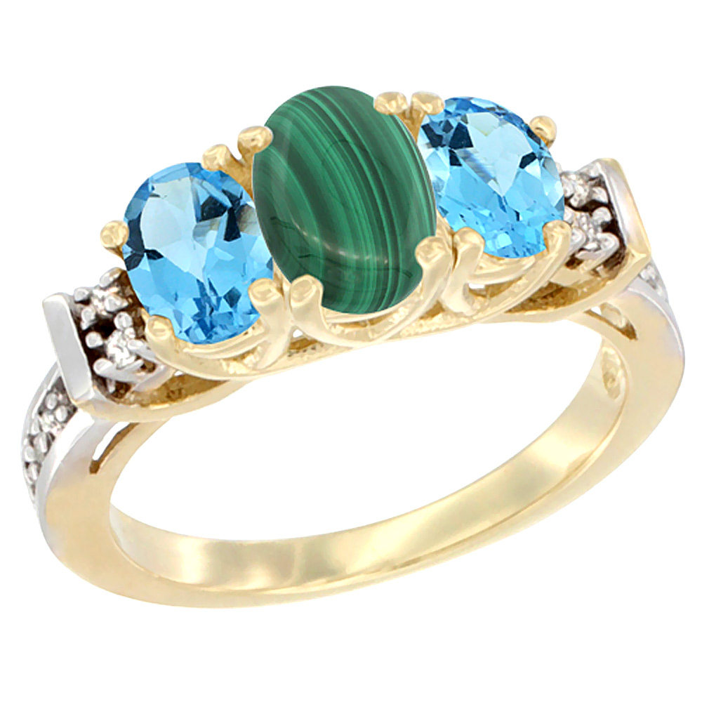 10K Yellow Gold Natural Malachite & Swiss Blue Topaz Ring 3-Stone Oval Diamond Accent
