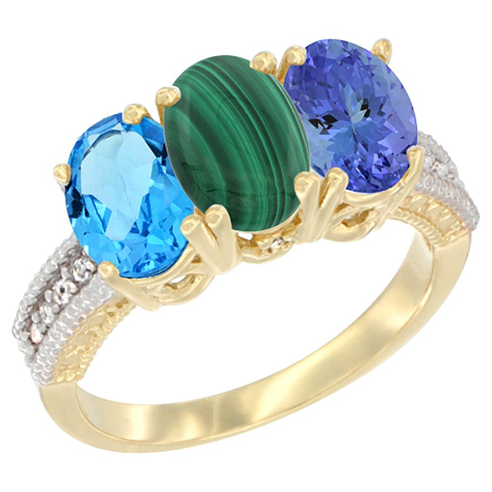 10K Yellow Gold Diamond Natural Swiss Blue Topaz, Malachite & Tanzanite Ring 3-Stone Oval 7x5 mm, sizes 5 - 10