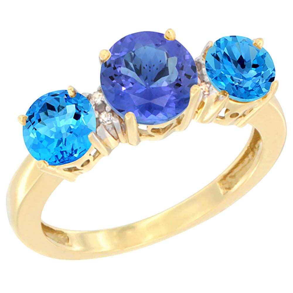 14K Yellow Gold Round 3-Stone Natural Tanzanite Ring & Swiss Blue Topaz Sides Diamond Accent, sizes 5 - 10