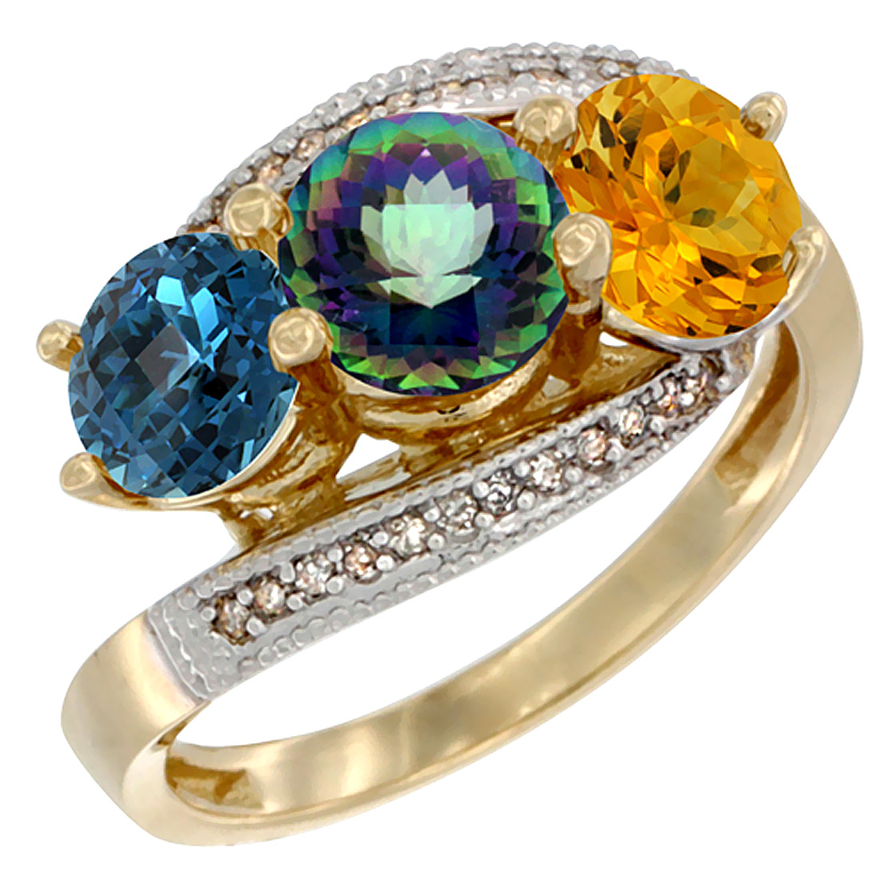 14K Yellow Gold Natural London Blue Topaz, Mystic Topaz & Citrine 3 stone Ring Round 6mm Diamond Accent, sizes 5 - 10