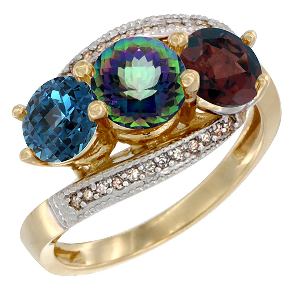 14K Yellow Gold Natural London Blue Topaz, Mystic Topaz & Garnet 3 stone Ring Round 6mm Diamond Accent, sizes 5 - 10