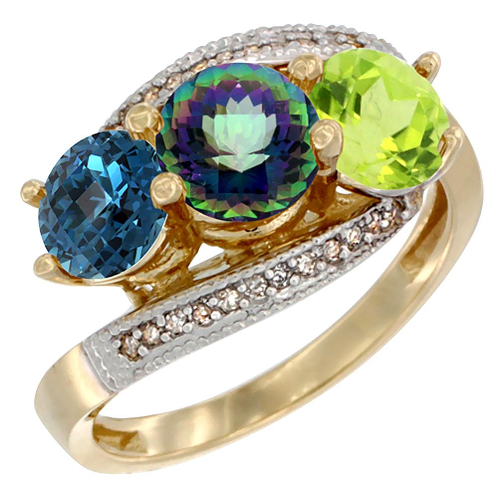 14K Yellow Gold Natural London Blue Topaz, Mystic Topaz & Peridot 3 stone Ring Round 6mm Diamond Accent, sizes 5 - 10