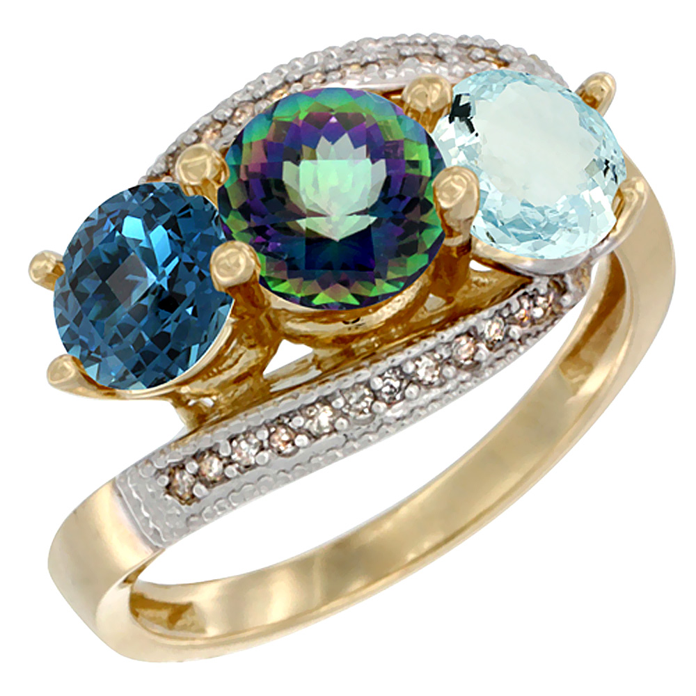14K Yellow Gold Natural London Blue Topaz, Mystic Topaz & Aquamarine 3 stone Ring Round 6mm Diamond Accent, sizes 5 - 10