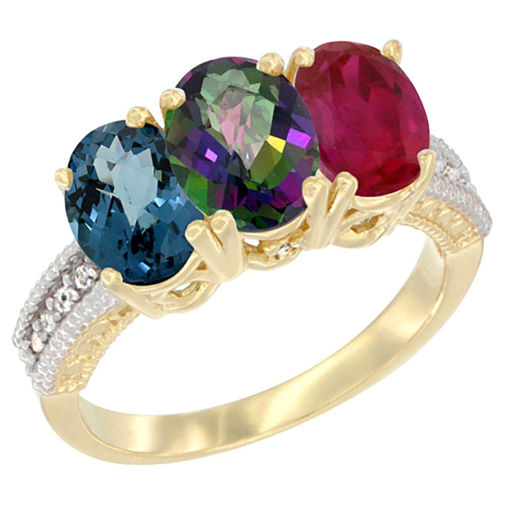 14K Yellow Gold Natural London Blue Topaz, Mystic Topaz & Enhanced Ruby Ring 3-Stone 7x5 mm Oval Diamond Accent, sizes 5 - 10