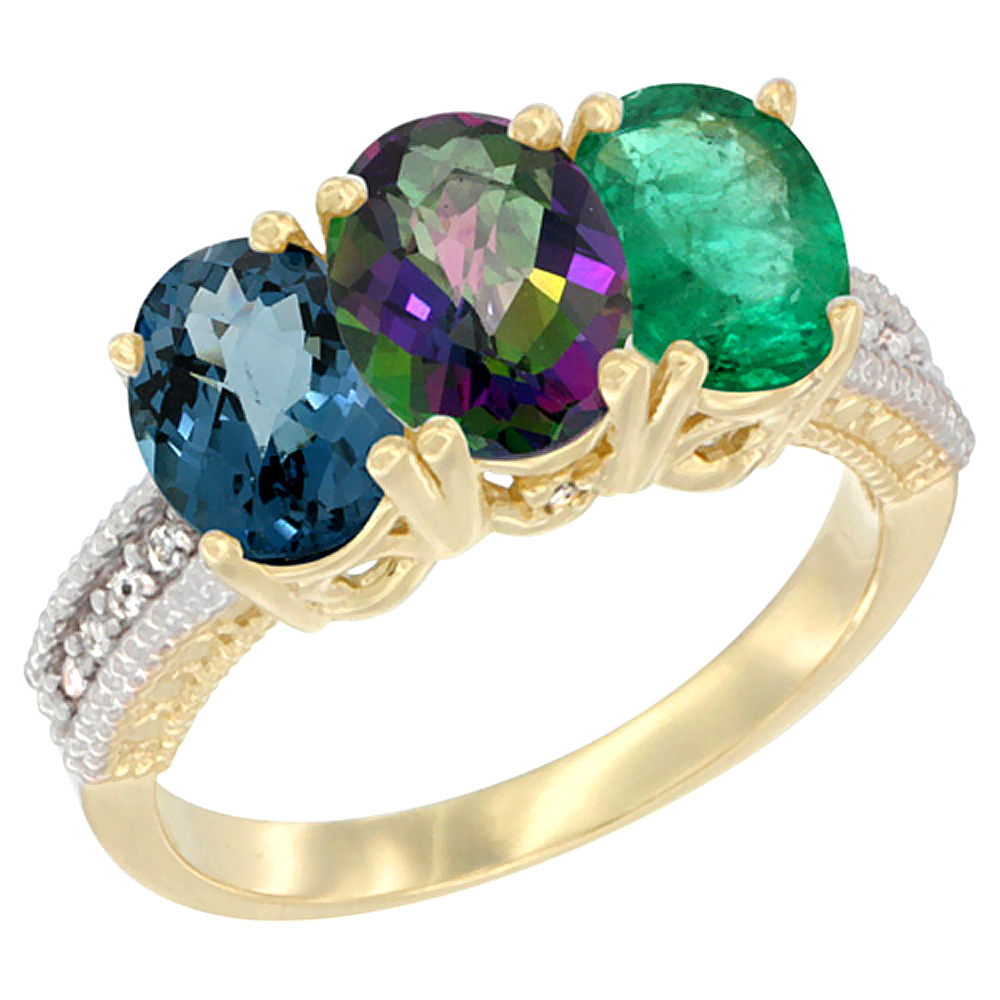 14K Yellow Gold Natural London Blue Topaz, Mystic Topaz & Emerald Ring 3-Stone 7x5 mm Oval Diamond Accent, sizes 5 - 10