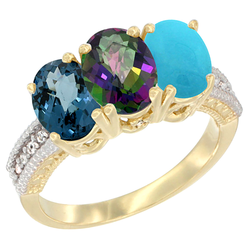 14K Yellow Gold Natural London Blue Topaz, Mystic Topaz & Turquoise Ring 3-Stone 7x5 mm Oval Diamond Accent, sizes 5 - 10
