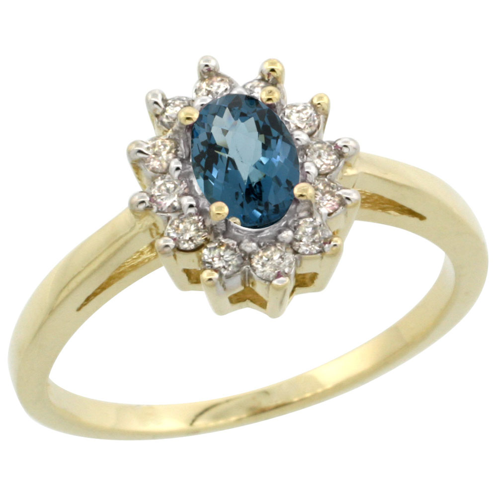14K Yellow Gold Natural London Blue Topaz Flower Diamond Halo Ring Oval 6x4 mm, sizes 5 10