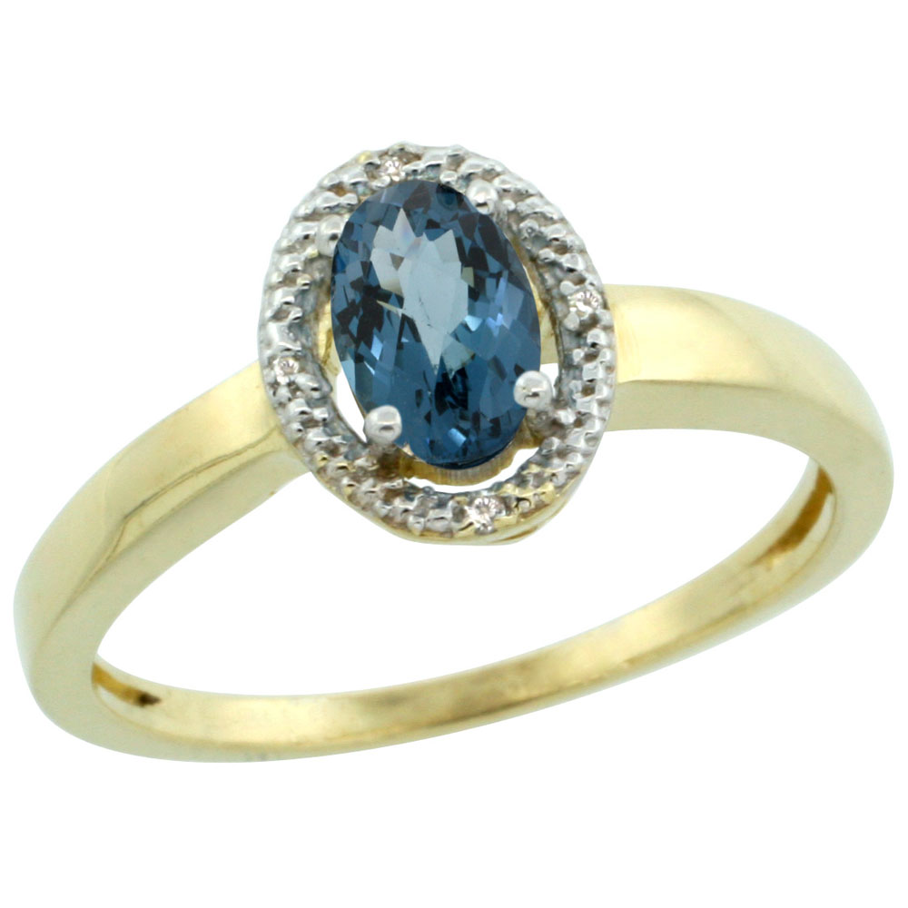 14K Yellow Gold Diamond Halo Natural London Blue Topaz Engagement Ring Oval 6X4 mm, sizes 5-10