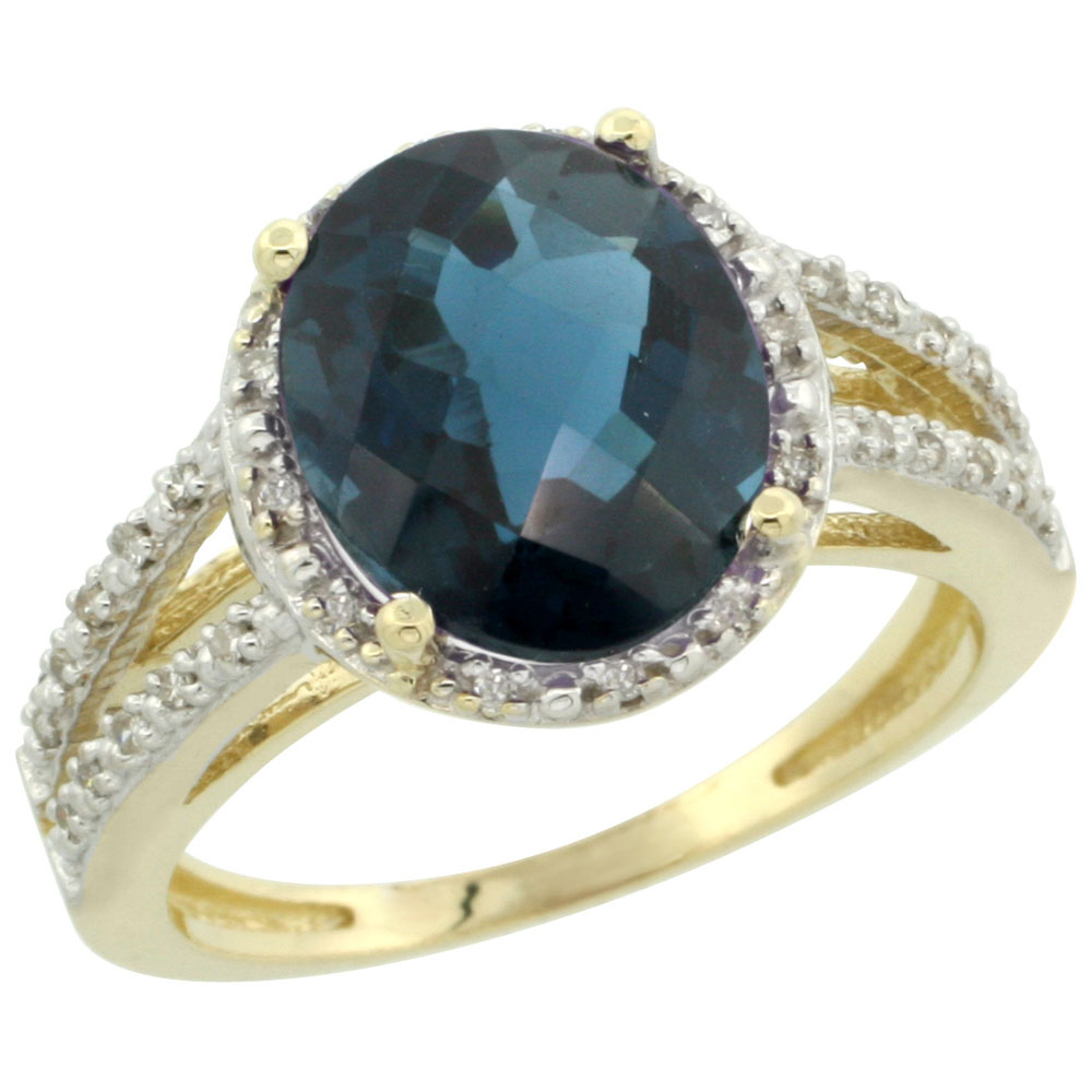 14K Yellow Gold Natural London Blue Topaz Diamond Halo Ring Oval 11x9mm, sizes 5-10