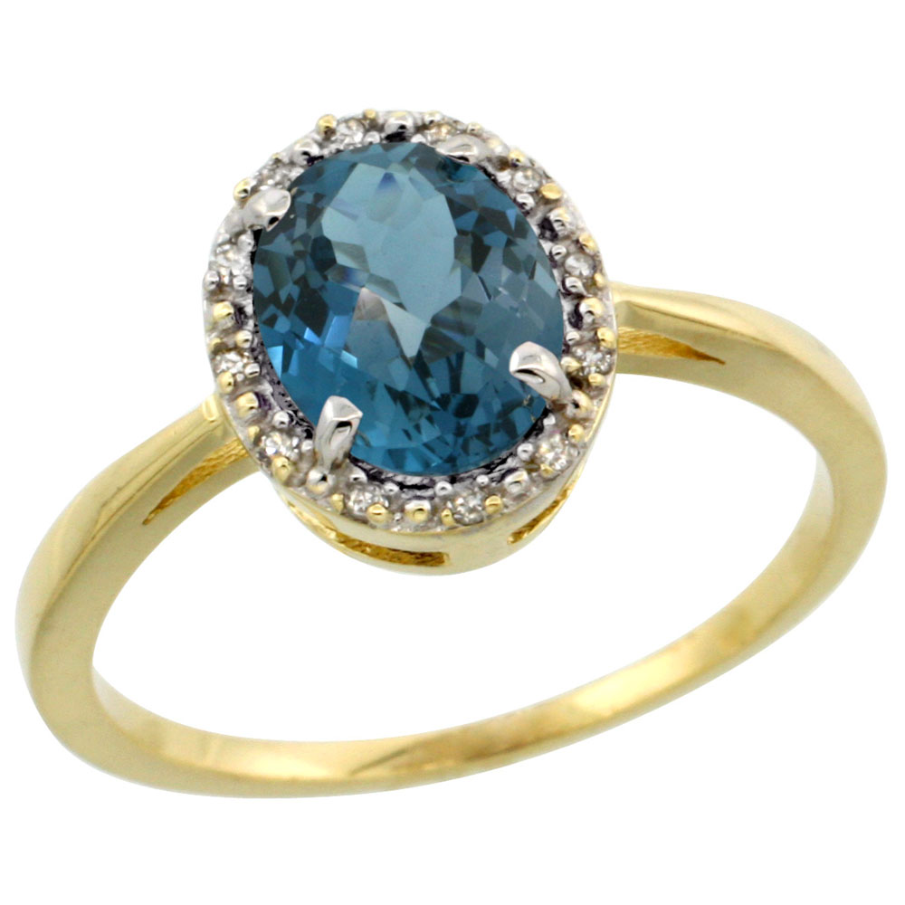14K Yellow Gold Natural London Blue Topaz Ring Oval 8x6 mm Diamond Halo, sizes 5-10