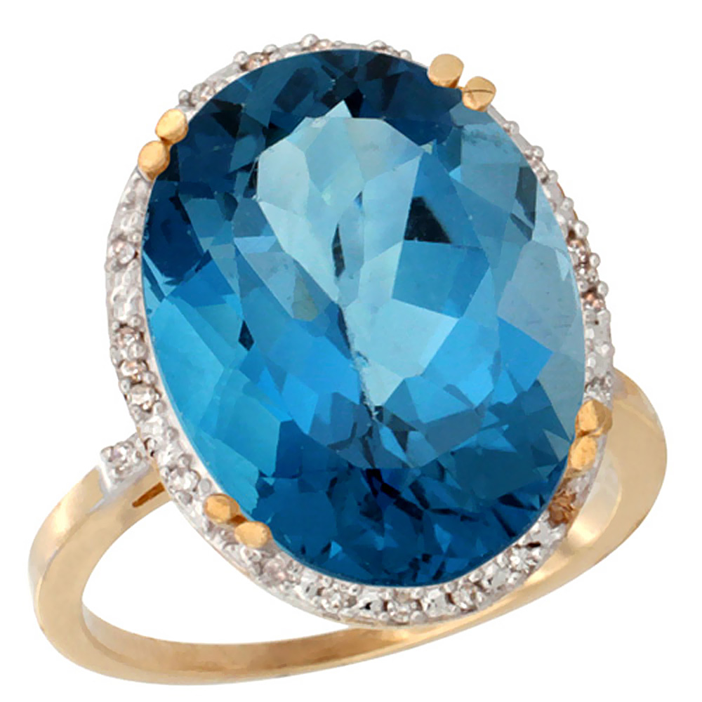 14K Yellow Gold Natural London Blue Topaz Ring Large Oval 18x13mm Diamond Halo, sizes 5-10