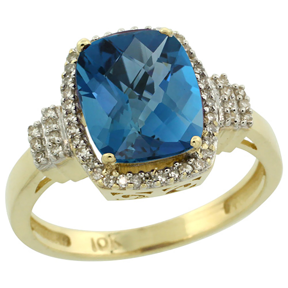 14K Yellow Gold Natural London Blue Topaz Ring Cushion-cut 9x7mm Diamond Halo, sizes 5-10