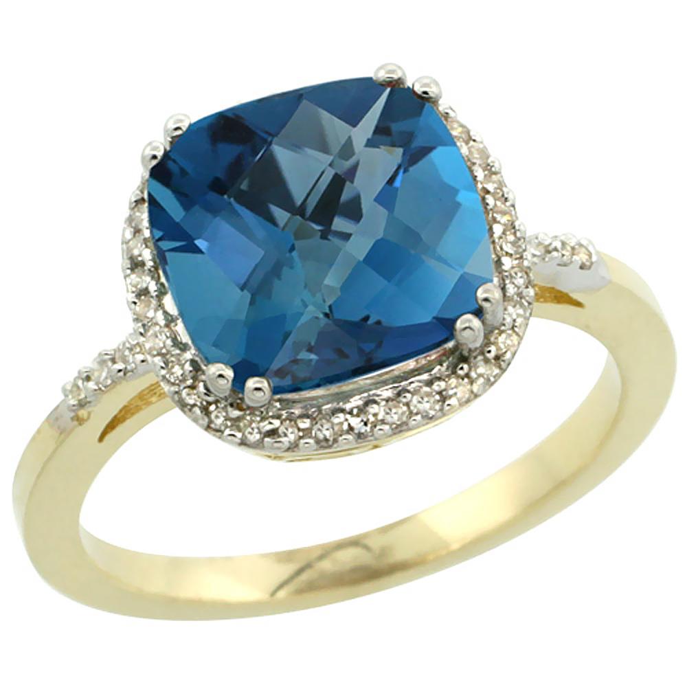 14K Yellow Gold Diamond Natural London Blue Topaz Ring Cushion-cut 9x9mm, sizes 5-10
