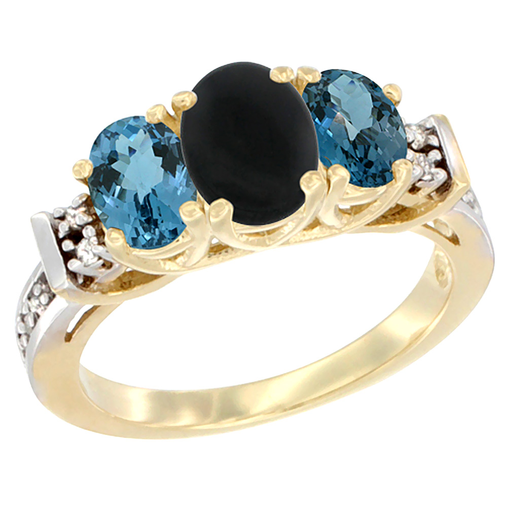 14K Yellow Gold Natural Black Onyx & London Blue Ring 3-Stone Oval Diamond Accent