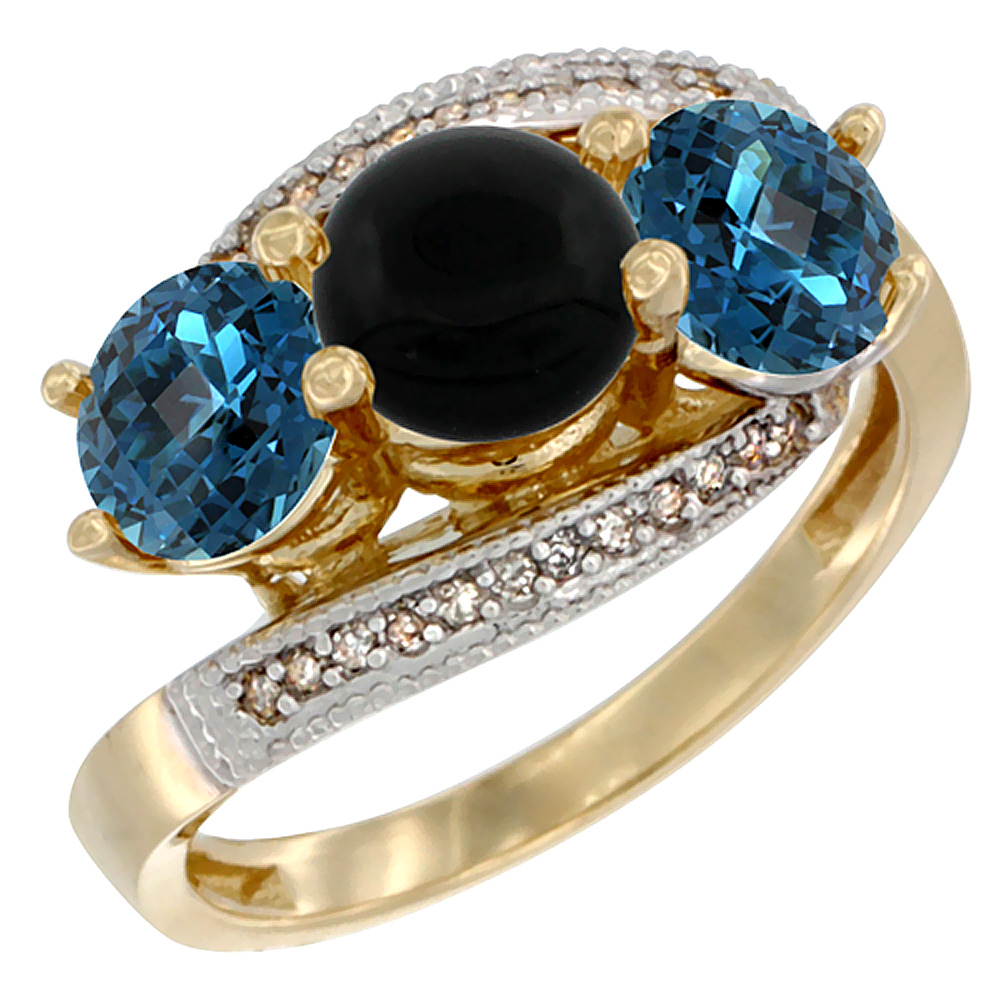 14K Yellow Gold Natural Black Onyx & London Blue Topaz Sides 3 stone Ring Round 6mm Diamond Accent, sizes 5 - 10